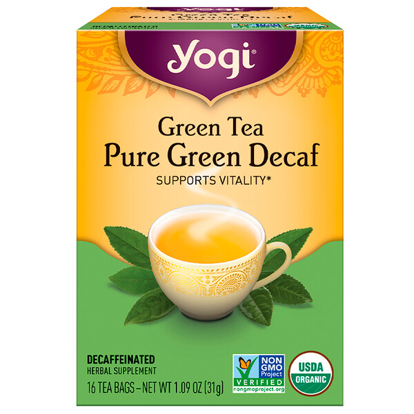 Yogi Tea, Green Tea, Pure Green Decaf, 16 Tea Bags, 1.09 oz (31 g)