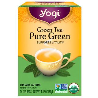 Yogi Tea, ピュア グリーン、 グリーンティー、 16 ティーバッグ、 1.09 oz (31 g)