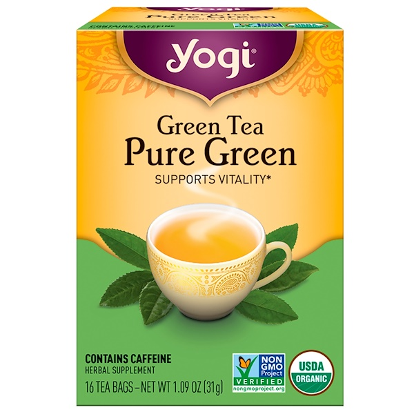 Yogi Tea, Pure Green, Green Tea, 16 Tea Bags, 1.09 oz (31 g) (Discontinued Item)