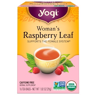 Yogi Tea, Woman's Raspberry Leaf, Caffeine Free, 16 Tea Bags, 1.02 oz (29 g)