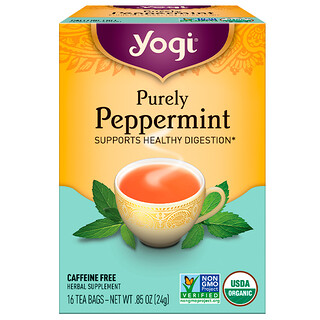 Yogi Tea, Organic, Purely Peppermint, Caffeine Free, 16 Tea Bags, .85 oz (24 g)