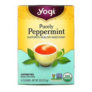 Yogi Tea, Organic, menta pura, sin cafeína, 16 bolsitas de té, .85 oz (24 g)