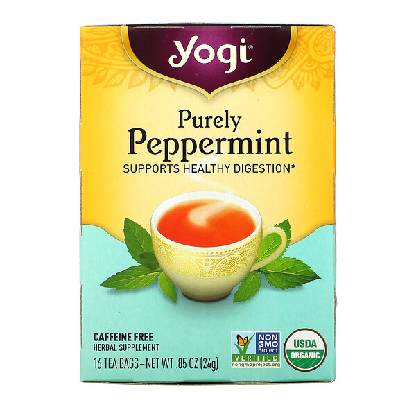 Yogi Tea, Purely Peppermint, Caffeine Free, 16 Tea Bags, .85 oz (24 g)