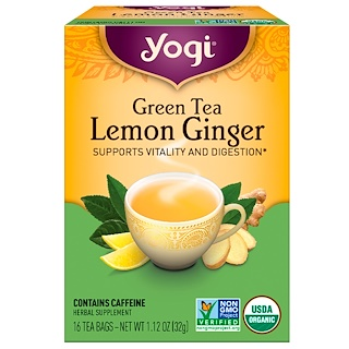 Yogi Tea, Organic Green Tea, Lemon Ginger, 16 Tea Bags, 1.12 oz (32 g)