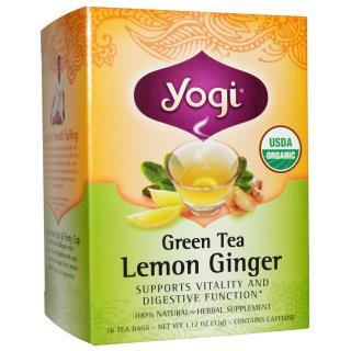 Yogi Tea, Organic Green Tea, Lemon Ginger, 16 Tea Bags, 1.12 oz (32 g)