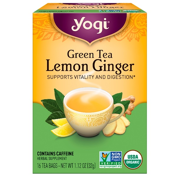 Yogi Tea, Organic Green Tea, Lemon Ginger, 16 Tea Bags, 1.12 oz (32 g) (Discontinued Item)