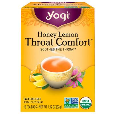 Купить Органический, Throat Comfort, со вкусом меда и лимона, без кофеина, 16 чайных пакетиков, 1.12 унций (32 г)