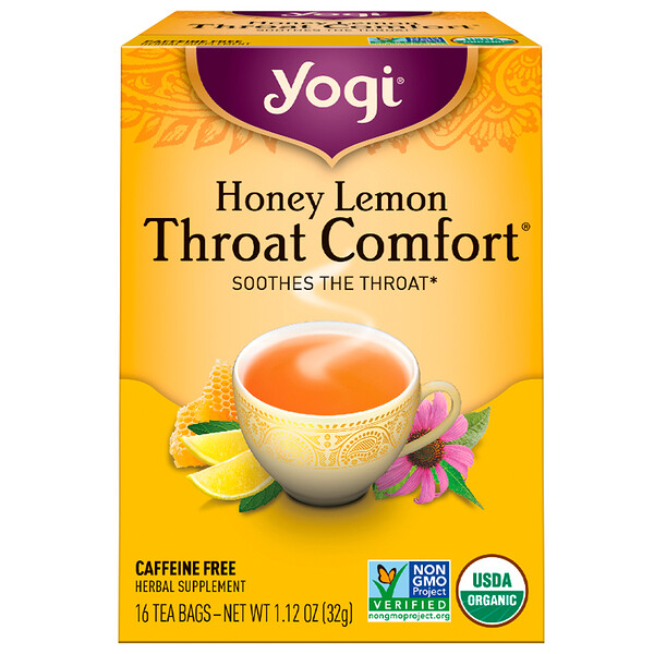 Yogi Tea, Throat Comfort, Honey Lemon, Caffeine Free, 16 Tea Bags, 1.12 oz (32 g)