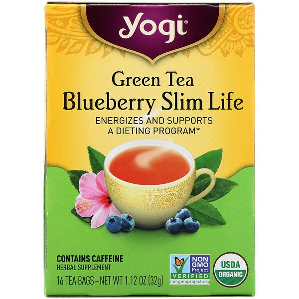 Organic, Green Tea Blueberry Slim Life, 16 Tea Bags, 1.12 oz (32 g)