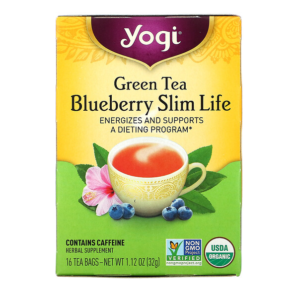 Green Tea Blueberry Slim Life, 16 Tea Bags, 1.12 oz (32 g)