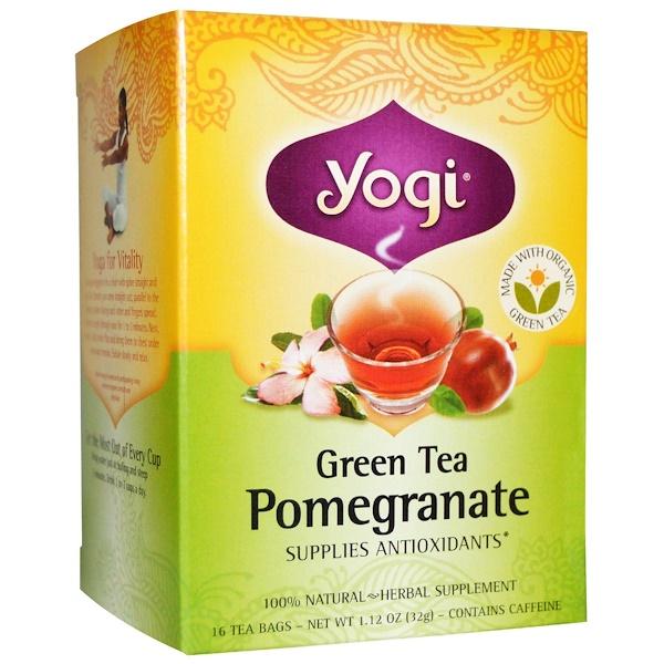 Yogi Tea, Green Tea Pomegranate, Caffeine, 16 Tea Bags, 1.12 oz (32 g) (Discontinued Item)
