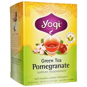 Йоги Ти, Green Tea Pomegranate, Caffeine, 16 Tea Bags, 1.12 oz (32 g) отзывы покупателей