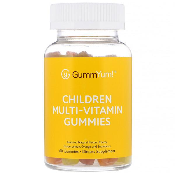 GummYum!, حلوى متعددة الفيتامينات Children Multi-Vitamin Gummies، نكهات طبيعية متنوعة، 60 قطعة