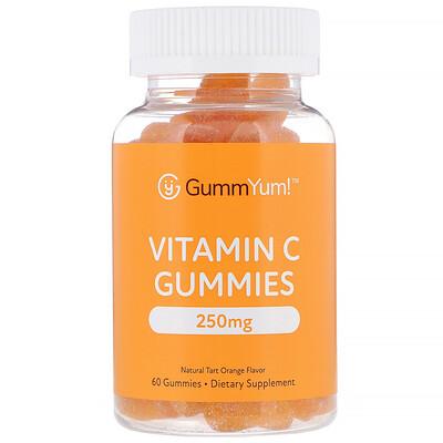Купить GummYum! Жевательные конфеты с витамином C, натуральный апельсиновый ароматизатор, 250 мг, 60 жевательных конфет