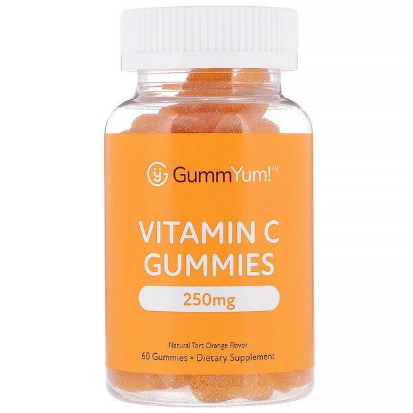 GummYum!, Vitamin C Gummies, Natural Tart Orange Flavor, 250 mg, 60 Gummies