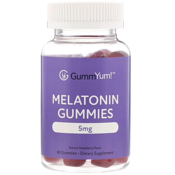 GummYum!, Melatonin Gummies, Natural Strawberry Flavor, 2.5 mg, 60 Gummies