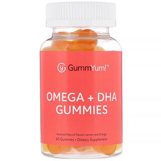 GummYum!, Gomitas con omega + DHA, sabores naturales surtidos, 60 gomitas