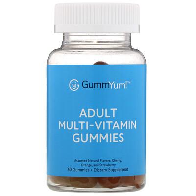 Купить GummYum! Жевательные мультивитамины для взрослых, с разными натуральными ароматизаторами, 60жевательных таблеток