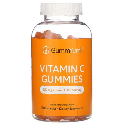 GummYum! Vitamin C Gummies, Natural Tart Orange Flavor, 250 mg, 180 Gummies