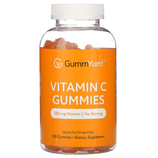 GummYum!, Vitamin C Gummies, Natural Tart Orange Flavor, 125 mg, 180 Gummies