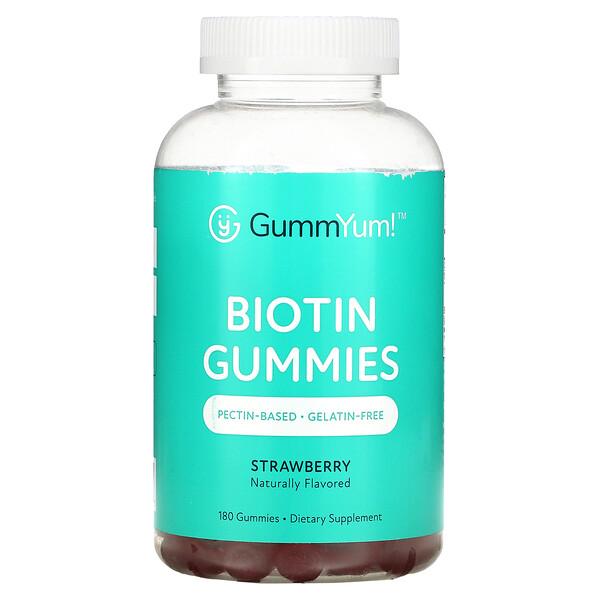 Biotin Gummies, Strawberry, 2,500 mcg, 180 Gummies