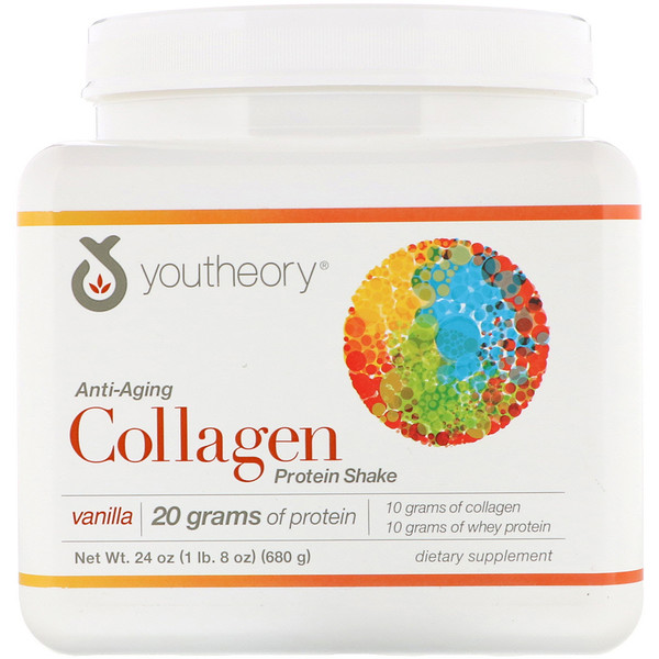 Youtheory, Collagen Protein Shake, Vanilla, 24 oz (680 g)