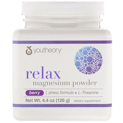 Youtheory Relax, Magnesium Powder, Stress Formula + L-Theanine, Berry, 4.4 oz (126 g)