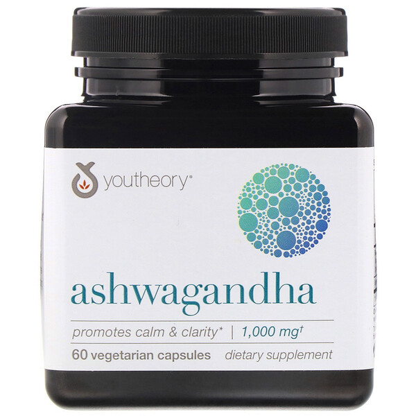 Youtheory, Ashwagandha, 1,000 mg, 60 Vegetarian Capsules