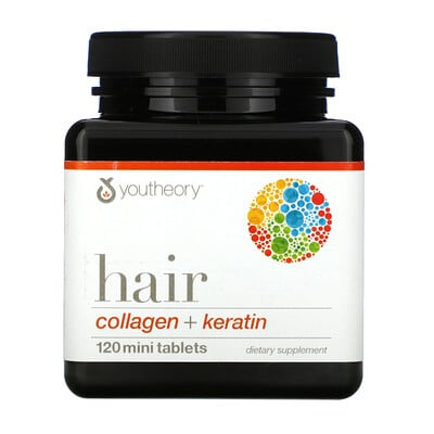 Youtheory Hair, Collagen + Keratin, 120 Mini Tablets