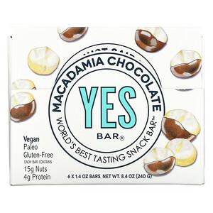 Yes Bar, Snack Bar, Macadamia Chocolate, 6 Bars, 1.4 oz Each