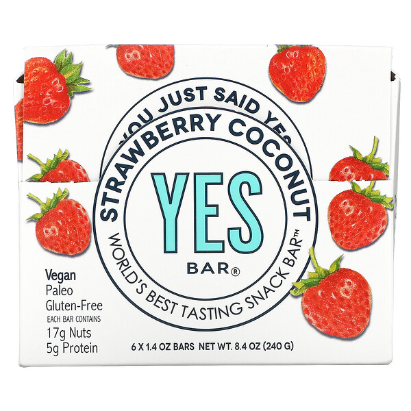 Snack Bar, Strawberry Coconut, 6 Bars, 1.4 oz Each