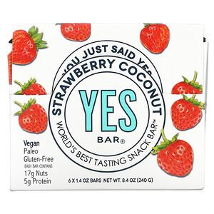 Yes Bar, Snack Bar, Strawberry Coconut, 6 Bars, 1.4 oz Each'