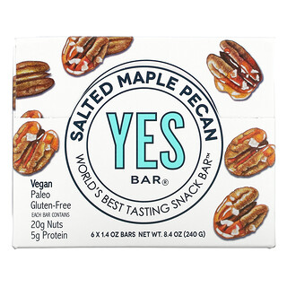 Yes Bar, Snack Bar, Salted Maple Pecan, 6 Bars, 1.4 oz Each