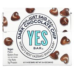 Yes Bar, 零食棒,黑巧克力片,6 根,每根 1.4 盎司