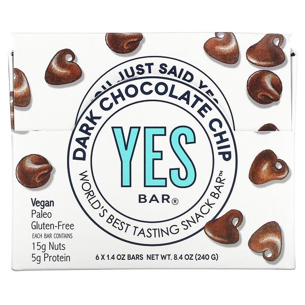 Snack Bar, Dark Chocolate Chip, 6 Bars, 1.4 oz Each