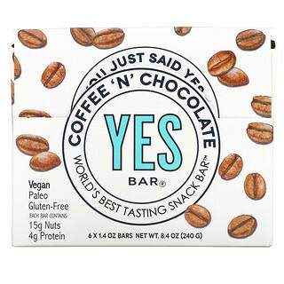 Yes Bar, Snack Bar, Coffee 'N' Chocolate, 6 Bars, 1.4 oz Each