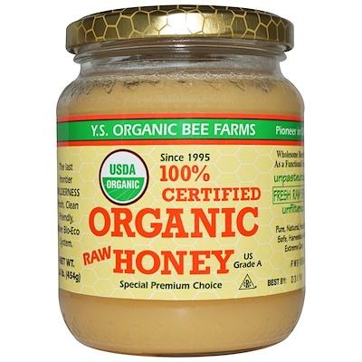 100% сертифицированный органический сырой мед, 454г (1,0фунта)