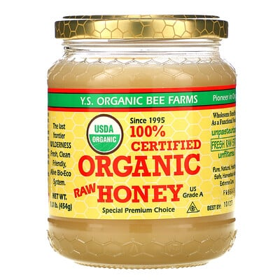 Купить Y.S. Eco Bee Farms 100%-ный сертифицированный органический необработанный мед, 454г (1фунт)