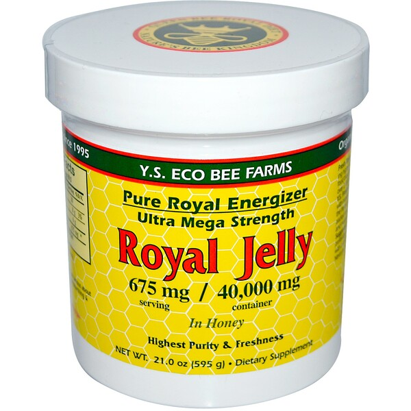 Y.S. Eco Bee Farms, Royal Jelly, in Honey, 675 mg, 1.3 lbs (595 g)