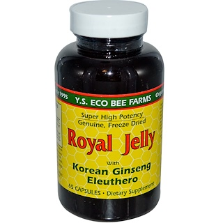 Y.S. Eco Bee Farms, Royal Jelly, with Korean Ginseng Eleuthero, 65 Capsules