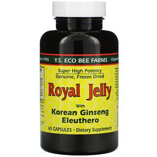 Y.S. Eco Bee Farms, Gelée royale, au ginseng coréen Eleuthero, 65 Capsules