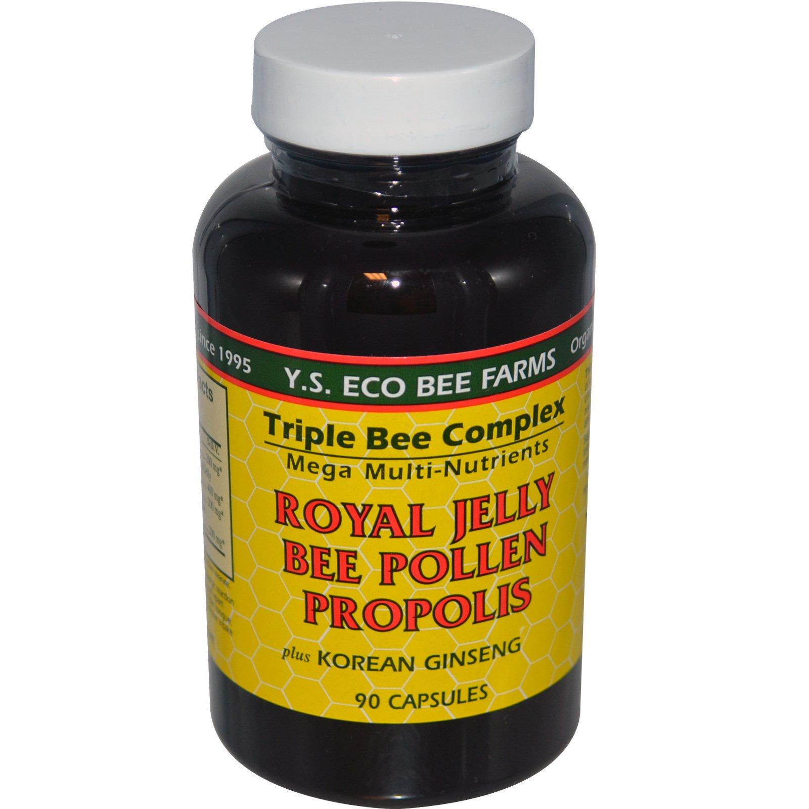 Y S  Eco Bee Farms, Royal Jelly, Bee Pollen, Propolis, Plus Korean Ginseng,  90 Capsules