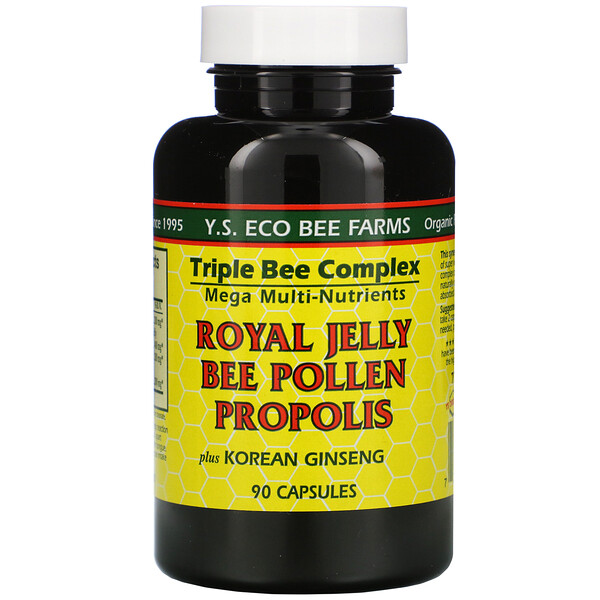Y.S. Eco Bee Farms, Royal Jelly, Bee Pollen, Propolis, Plus Korean Ginseng, 90 Capsules