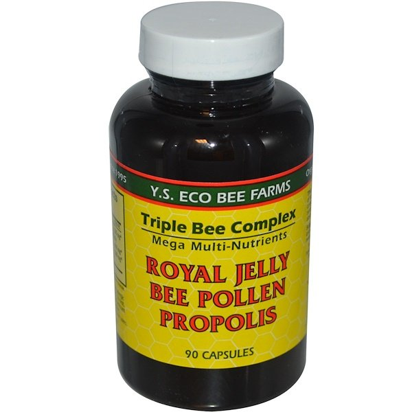 Y.S. Eco Bee Farms, Royal Jelly, Bee Pollen, Propolis, 90 Capsules