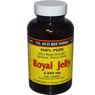 Y.S. Eco Bee Farms, Gelée royale, 100 % pure, 2000 mg, 75 capsules