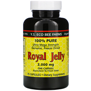 Y.S. Eco Bee Farms, Gelée royale, 100% pure, 2000mg, 75 capsules