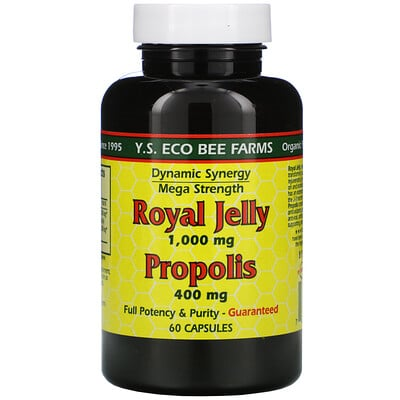 Y.S. Eco Bee Farms Royal Jelly, Propolis, 60 Capsules