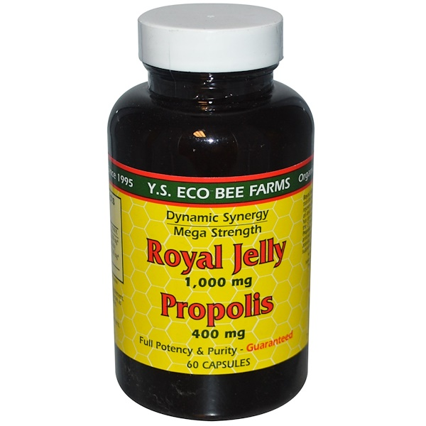 Y.S. Eco Bee Farms, Royal Jelly, Propolis, 1,000 mg/400 mg, 60 Capsules