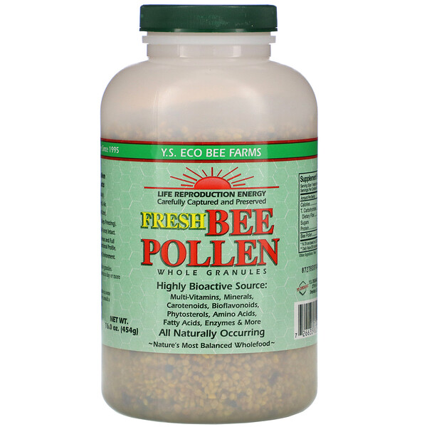 Y.S. Eco Bee Farms, Fresh Bee Pollen Granules, Whole, 16.0 oz (454 g)
