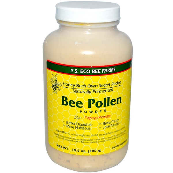 Y.S. Eco Bee Farms, Polen de abeja en polvo, más papaya en polvo, 10,6 oz (300 g)